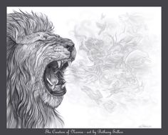 Aslan breathing the creation of Narnia. By Bethany Sellers (~CrimsonSacrifice on DeviantArt)
