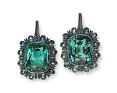 Modern Tourmaline and sapphire earrings by Hemmerle