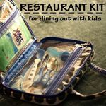 Restaurant Kit using a makeup bag filled with wipes, snacks, games, etc.