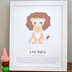*Free Shipping Australia Wide*Leo Baby: July 24 – August 23Are you looking for a beautiful, thoughtful, truly unique baby gift?Featuring our beautifully illustrated 'loveable lion' and a sweet little narrative, our Leo Baby Wall Art Print