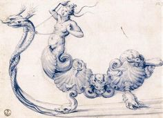 'Sketch for a sleigh with figures of sirens', Pen by Giuseppe Arcimboldo (1527-1593, Italy)