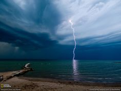Lightning over water  #sky #nature #storm