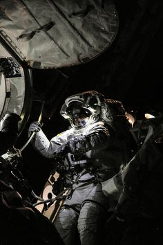 NASA astronaut Chris Cassidy, Expedition 36 flight engineer, attired in an Extravehicular Mobility Unit (EMU) spacesuit, participates in a session of extravehicular activity (EVA). (16 July 2013)