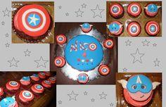 Pastel y cupcakes del Capitán América