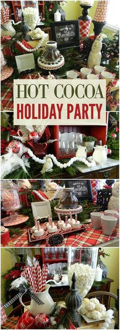 Gorgeous hot cocoa party in plaid! Check out the marshmallow stir sticks on slide 6! See more party ideas at CatchMyParty.com!