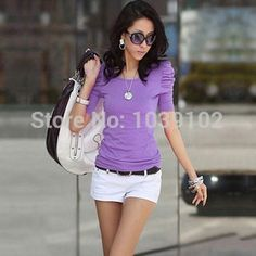 nice 2015 3 colours Circular training collar Trim match ladies t-shirt fifty percent Smoke sleeve stylish woman fundamental t-shirts fall brand new covers 100 % cotton