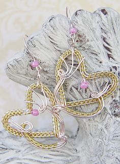 Gold Heart Earrings, Pink Bridesmaid Earrings With Hearts, Wire Wrapped Jewelry