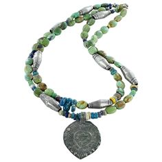 "TIBETAN TURQUOISE NECKLACE with ANCIENT MALI GLASS BEADS STERLING 16.5"" from New World Gems"
