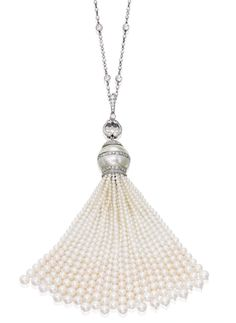 PLATINUM, CULTURED PEARL AND DIAMOND SAUTOIR Centering a cultured pearl measuring approximately 16.5 mm, suspending a tassel composed of numerous cultured pearls measuring approximately 5.2 to 1.7 mm, the necklace further decorated with seed pearls, set with round and rose-cut diamonds weighing approximately 5.55 carats, length 30 inches; tassel detachable.