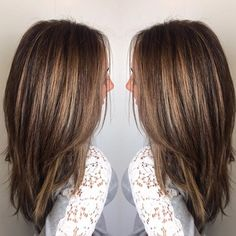 #25 warm honey gold tones on a rich brown base. I used foil #MelissaGorga's highlights. I found that hand painting balayage just didn't get her light enough without all the warmth. Sometimes old school works best! #Love me some #honey #golden #warm tones on a #rich #brown #chocolate #basecolor #balayage #ombre #hairporn by #juliusmichael