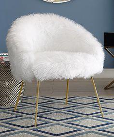 White Pamela Faux Fur Accent Chair