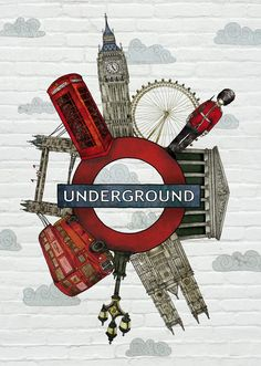 Illustration for LING magazine (inflight Vueling Magazine) featuring London City. Shows a central image of the mitical Underground logo suggesting a journey through London´s iconic places. Foto Poster, Poster S, Feuille A3, London Illustration, London Landmarks, London Art, London Logo, London Icons, London Poster