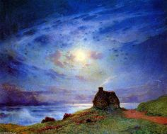 Ferdinand du Puigaudeau     La cabine des douanes  The otherworldly nighttime sky in this painting takes it past impressionism and toward Symbolism and Art Nouveau.