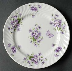 """""""Wild Violets"""" china pattern with purple flowers & butterfly from Aynsley. From my """"Pretty China"""" board. Antique China, Vintage China, China Plates, China Painting, All Things Purple, China Sets, Vintage Dishes, China Patterns, Vintage Handbags"""