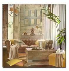 A home decor collage from February 2018 featuring wooden furniture, microfiber blanket and white curtains. Welcome Spring, Decor, Interior Design, Home, Interior, Home Decor