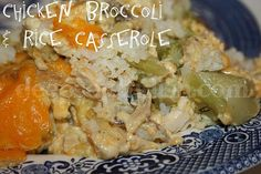 A classic casserole, chicken is paired up with broccoli, rice, cream soup and cheese.