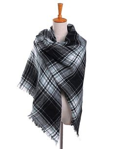Bess Bridal Women's Plaid Blanket Winter Scarf Warm Cozy Tartan Wrap Oversized Shawl Cape - Dark Gray One Size Blanket Shawl, Plaid Blanket, Plaid Scarf, Picnic Blanket, Cozy Scarf, Large Scarf, Dress Gloves, Pashmina Scarf, Belted Dress