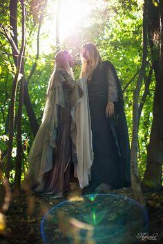 Louis and Perpetua Fairy Wedding Dress, Fairy Dress, Lotr Elves, Fantasy Couples, Elves And Fairies, Elvish, Fantasy Costumes, Medieval Fantasy, Larp
