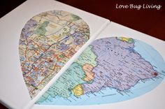 Hometown Heart Map Canvas - DIY Mod Podge project.  Great for Wedding or Valentine's Day gift