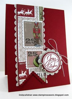 Christmas Joys by - Cards and Paper Crafts at Splitcoaststampers Merry Christmas Card, Handmade Christmas, Holiday Cards, Christmas Cards, Santa Letter, Scrapbook Pages, Scrapbooking, Jingle Bells, I Card