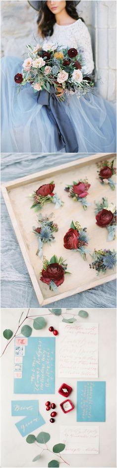 dusty blue and burgundy deep red wedding color ideas #weddings #weddingcolors #weddingideas #blueweddings #weddinginspiration