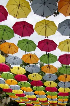 #MyColourOfSummer Found this lovely colourful umbrella walk just last week in Saumur, NW France. I have seen it before in Spain. As it was so hot, it was more like a Parasol walk.