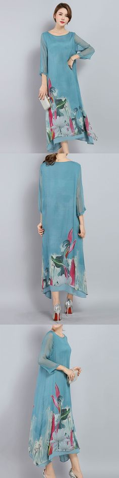 US$ 33.89  A Fashionable Dress That You Must Have - Vintage Printed Irregular Hem 3/4 Sleeve Women Mid-Long Dresses