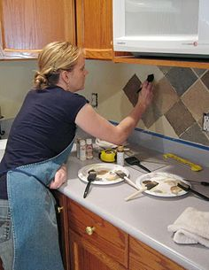 This Thrifty House: Tile Looking Backsplash--On a Budget
