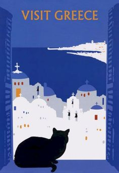 Visit Greece Charming Black Cat Large Vintage Travel Poster Repro Free s H Retro Poster, Poster S, Poster Prints, Posters Decor, Old Posters, Beach Posters, Charles Rennie Mackintosh, Kunst Poster, Travel Illustration