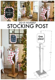 A DIY tutorial to build a self standing stocking post. No mantel for stockings? This is the perfect place to hang your Christmas stockings. Diy Xmas, Homemade Christmas, Christmas Projects, Holiday Crafts, Holiday Fun, Holiday Decor, Diy Holiday Blocks, Christmas Ideas, Country Christmas Trees