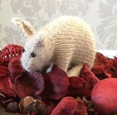 Small Easter Bunny hand knitted Soft Alpaca by Incywincybabyknits