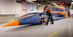 """The next world land speed record holder? WR holders since 1983, Britons Richard Noble and Andy Green plan """"Bloodhound SSC"""" for a new record. A Eurojet EJ200 jet engine will accelerate to 300 mph, a hybrid rocket will boost speed to 1,000 mph, then a Jaguar Formula 1 engine will be auxiliary power and drive the rocket's oxidiser pump. The engines produce >135,000 hp (6 times the combined power of a grid of 22 Formula One cars). Bloodhound SSC will be tested on Hakskeen Pan, South Africa in…"""