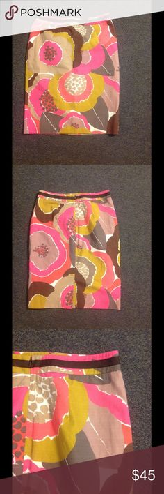 "Boden Colorful Floral Print Pencil Skirt 8 NEW Cute Boden pencil skirt. Colorful floral print. Made of cotton and lined in poly in size US 8. Brand new - never worn. Waist 31"" Hips 38"" Length 23 1/2"" Boden Skirts Pencil"
