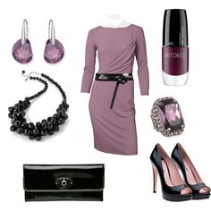 """Mauve Long Sleeved Dress with Black Accents"" by rosemary-woodhouse on Polyvore"