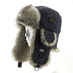 FUR WINTER Wool Blend Swallow Gird Faux Fur Aviator Ski Trapper Trooper Hat BGRY S/M. 60% Wool, 40% Polyester;. Well selected faux fur and 60% wool blend shell;. Forehead fleece pad and quilted lining;. Metal rear size adjuster in back to guarantee an extra comfortable fit;. Quality lasts a long time and we carry custom sizes.