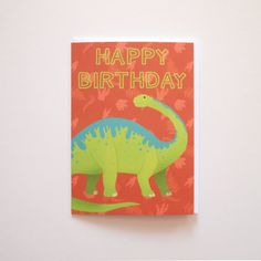 Brontosaurus Happy Birthday Blank Message Greeting by AdelaydeArt