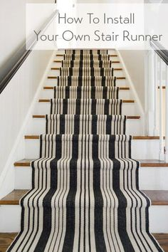 Stairs and Stripes - Installing a Stair Runner // Young House Love Young House Love, Painted Stairs, Wood Stairs, Black Stairs, Black Railing, Front Stairs, Basement Stairs, Style At Home, Arquitetura