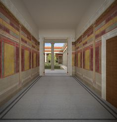Villa reconstruction 2, Pompeii, Italy on Behance ~ View of room C, the entry to the villa, facing north into the peristyle.