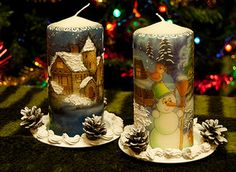 Фото, автор skobapb на Яндекс.Фотках Christmas Gift Decorations, Christmas Crafts For Gifts, Christmas Centerpieces, Natural Candles, Best Candles, Christmas Decoupage, Candle Art, Homemade Candles, Beeswax Candles