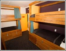 Haka Lodge, Queenstown. Bunks made of solid wood so you won't creek or squeak when climbing onto the top or rolling around while you  are sleeping.