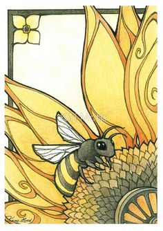 Art Nouveau Style Bee by KiriMoth- ink, watercolor, and colored pencil. The lines, colours and simplicity of the art nouveau style are the reasons why I studied it during GCSE Art Bee Drawing, Drawing Art, Jugendstil Design, I Love Bees, Arte Sketchbook, Bee Art, Save The Bees, Bees Knees, Mellow Yellow