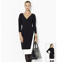 Lauren Ralph Lauren Two Toned Wrap Dress on shopstyle.com