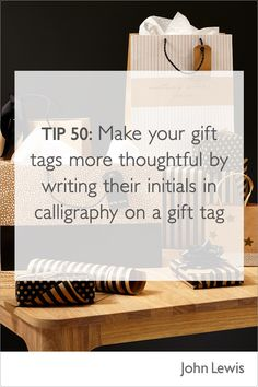 Make your gift tags even more thoughtful by writing their initials in gold or silver calligraphy. For a range of tags and pens visit John Lewis, for gifts everyone will love. Christmas Gift Wrapping, Christmas Gifts, Gift Bags, John Lewis, Pens, The Help, Initials, Range, Calligraphy