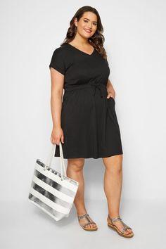 Black shirt dress with elastic waistband, sizes 44 - 64 Plus Size Women, Dresses For Work, Spring Summer, Shirt Dress, Clothes For Women, Shirts, Woman, Black, Fashion