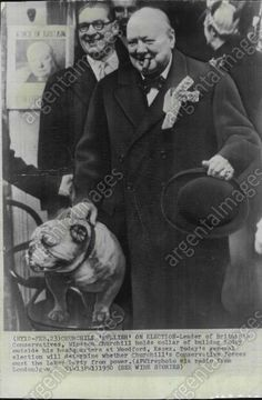 1950 Sir Winston Churchill holds collar of bulldog Press Photo