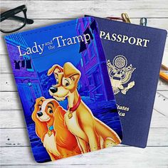 Lady and The Tramp Disney Leather Passport Wallet Case Cover