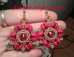 Starburst Delight Earrings by HoneyBeads1  ~ Seed Bead Tutorials
