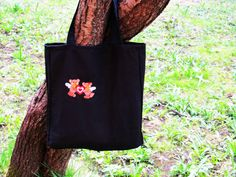 A cotton bag, Embroidered tote bag Black cotton Grocery Reusable Bag Eco-friendly Natural Beach tote bag REE SHIPPING by NaturalHomeTreasures on Etsy
