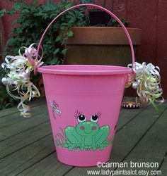 Girl Frog PInk  Beach Bucket Hand Painted by Ladypaintsalot, $15.00