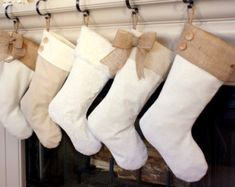 Christmas Stockings with Burlap Accents The Madison by BurlapBabe